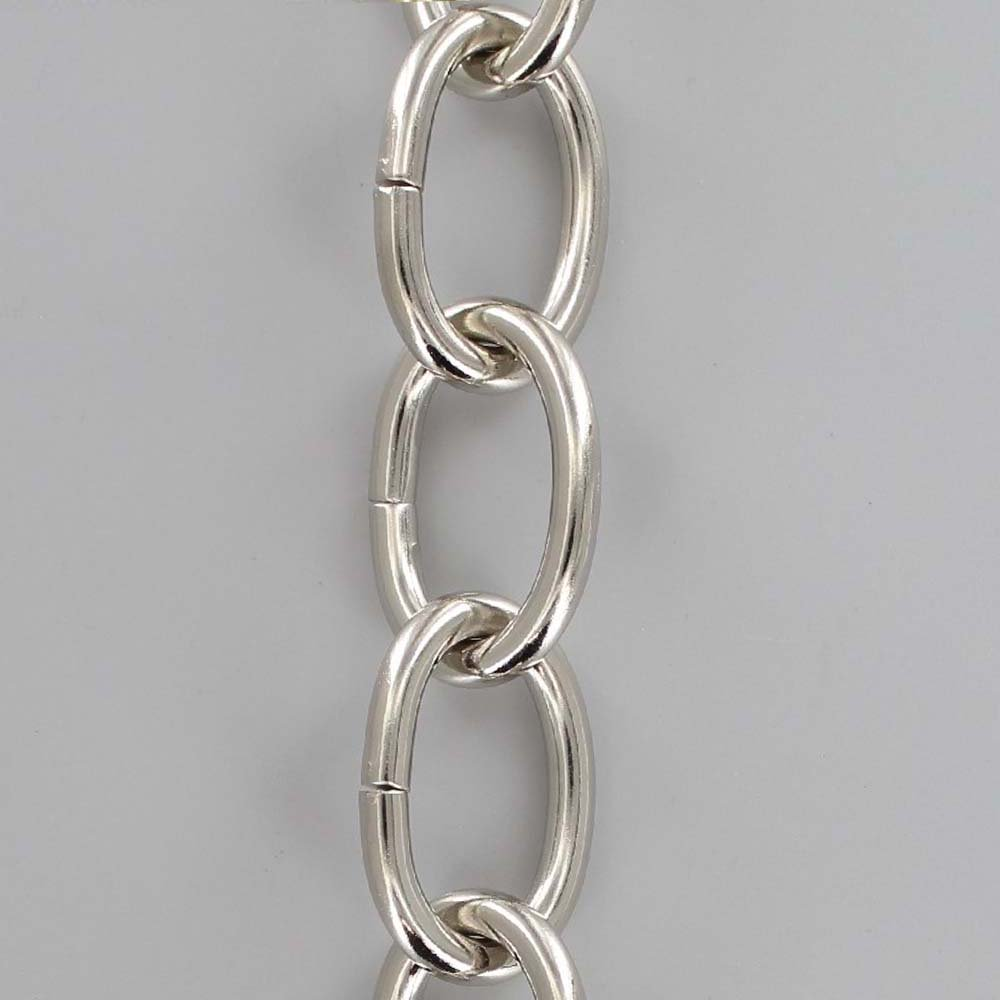 POLISHED NICKEL PLATED STEEL OVAL 3 GAUGE (1/4IN.) THICK CHAIN