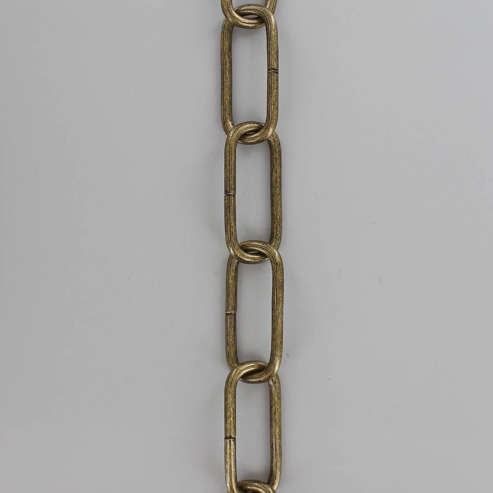 ANTIQUE BRASS PLATED STEEL LONG OVAL 3/16IN. THICK CHAIN