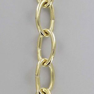 BRASS PLATED STEEL OVAL 3 GAUGE (1/4IN.) THICK CHAIN