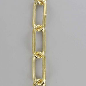 BRASS PLATED STEEL LONG OVAL 3 GAUGE (1/4IN.) THICK CHAIN