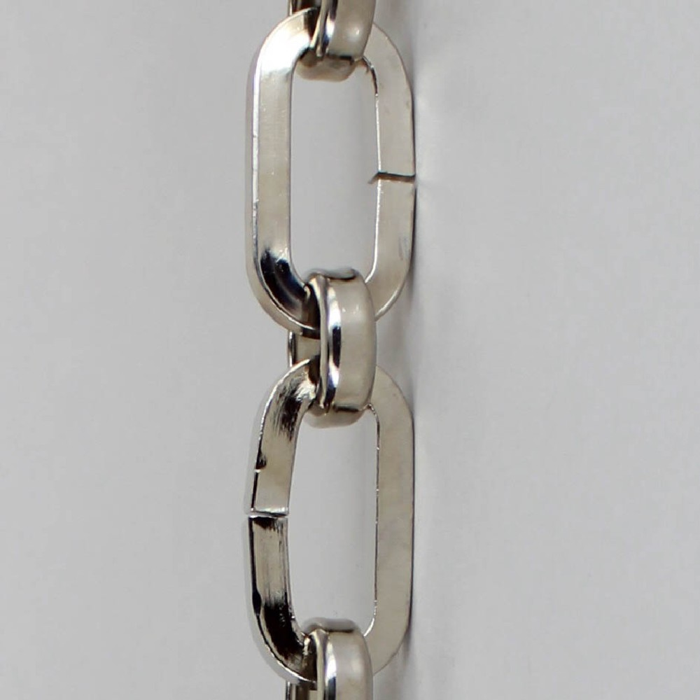 POLISHED NICKEL FINISH BRASS SQUARE WIRE OVAL CHAIN WITH ROUND LINK