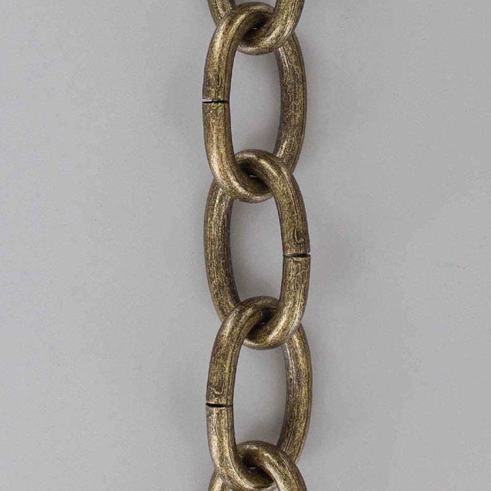 ANTIQUE BRASS PLATED STEEL OVAL 3 GAUGE (1/4IN.) THICK CHAIN