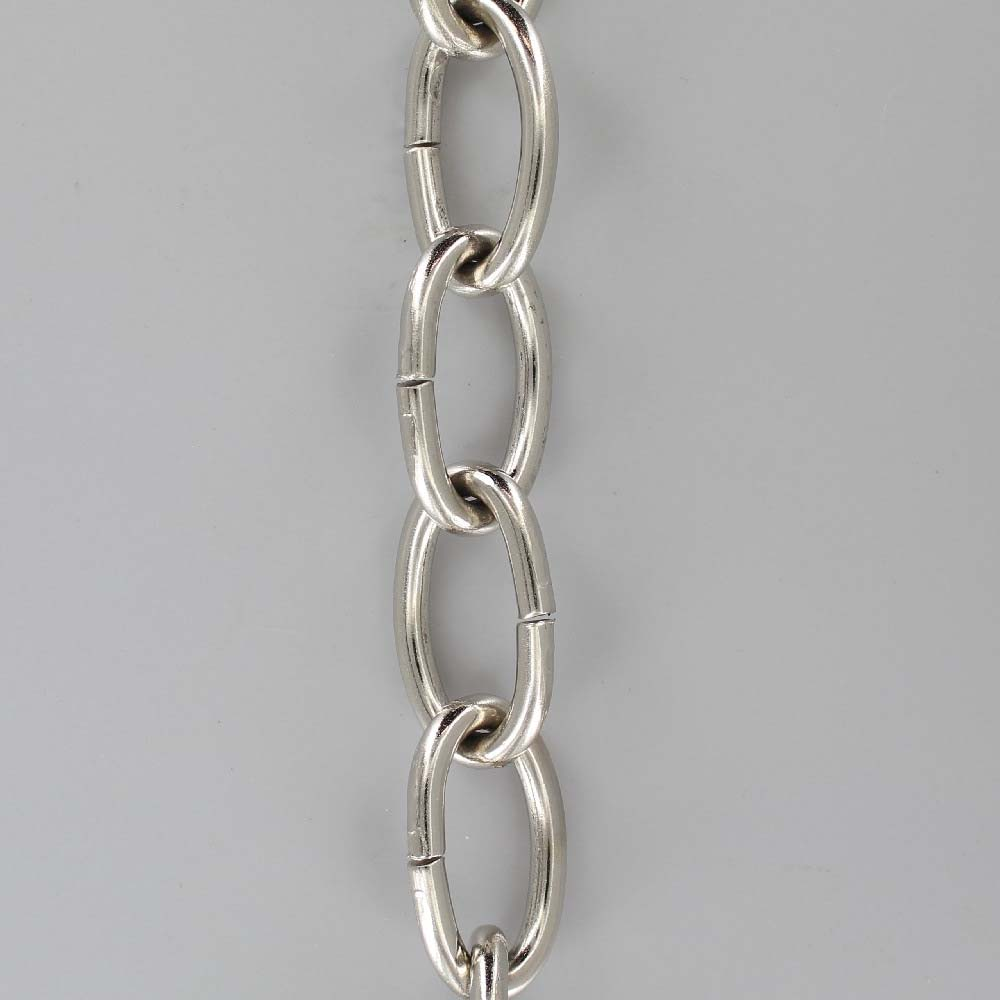 POLISHED NICKEL PLATED STEEL OVAL 3/16IN. THICK CHAIN