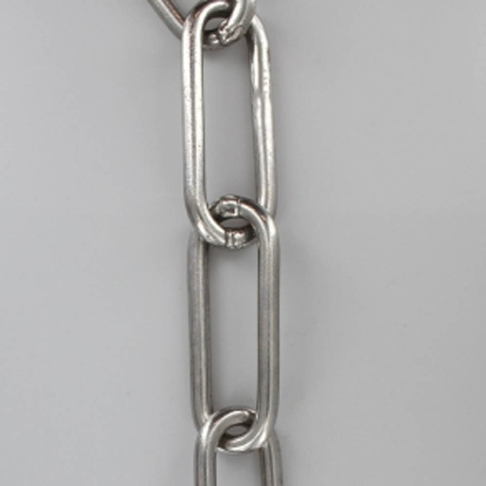 NICKEL PLATED FINISH STEEL LONG LINK 1 GAUGE (5/16IN.) THICK CHAIN (WELDED CLOSED)