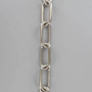 POLISHED NICKEL STEEL LONG OVAL 3/16IN. THICK CHAIN