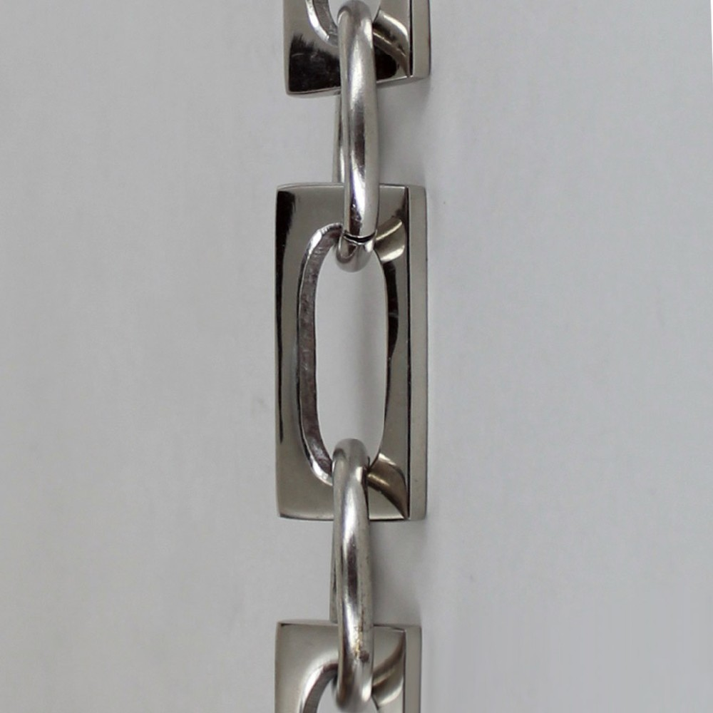 NICKEL PLATED FINISH CAST BRASS RECTANGULAR CHAIN WITH ROUND LINKS